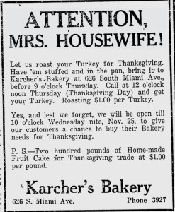 Karcher's Bakery Ad in Miami News.
