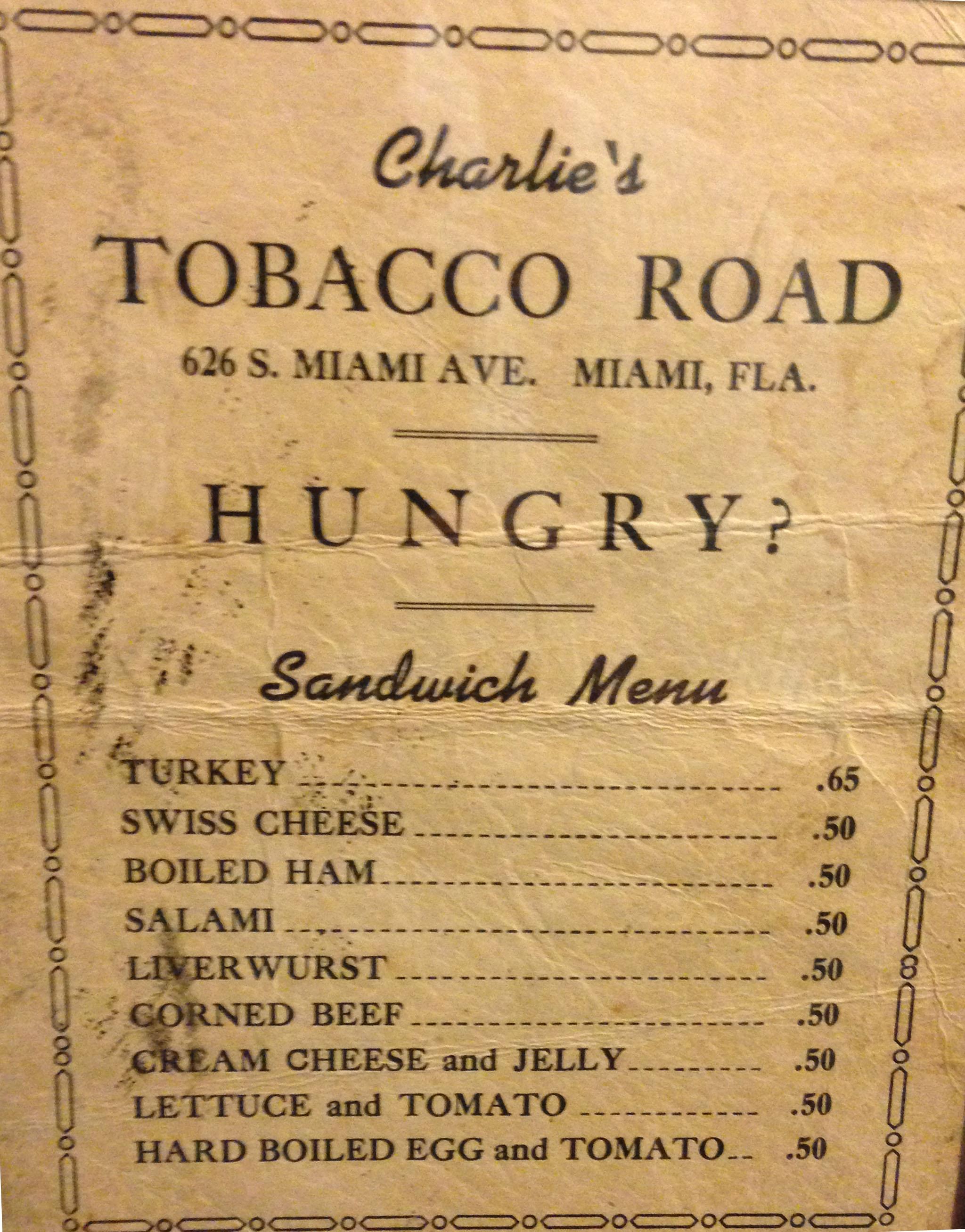 1944-TobaccoRoadMenu