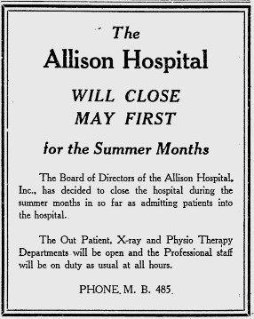 Miami News Ad - Allison Hospital Closes for Summer.