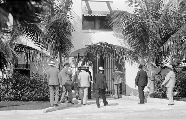 Dade County Sheriff and men approaching 93 Palm Avenue in 1930.
