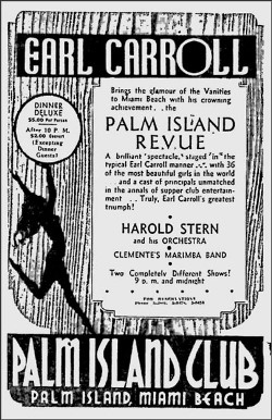 Palm Island Club Ad in Miami News - 1930s