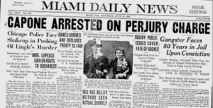 Miami News Headline on Capone Perjury Arrest.