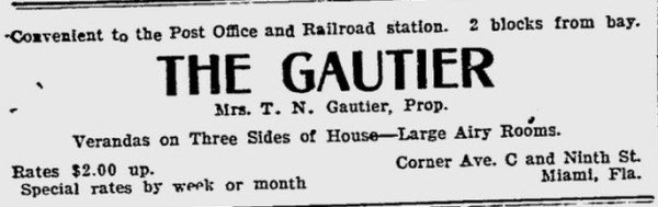 The Gautier Rooming House ad in 1908