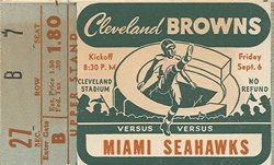First Game Ticket Stub on September 6th, 1946