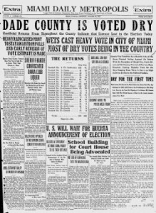 Miami Metropolis Headline on October 30th, 1913