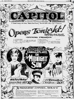 Opening Night Program in 1926