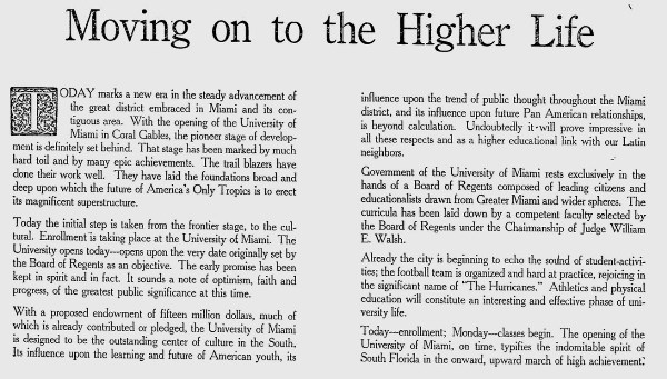 Ad for University of Miami opening on October 15th, 1926