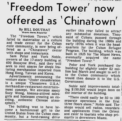 Freedom Tower offered as Chinatown in 1976