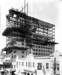 Meyer-Kiser Building being rebuilt in 1927