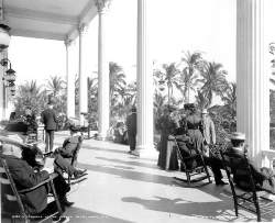 Rocking chairs on Royal Palm porch in 1905