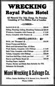 Ad in Miami Herald in 1930
