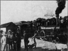 Artist rendition of first train that arrived in Miami on April 13th, 1896.