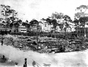 Budges Hardware fire aftermath in 1902.