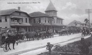 Postcard of Miami School and Auditorium in 1904.