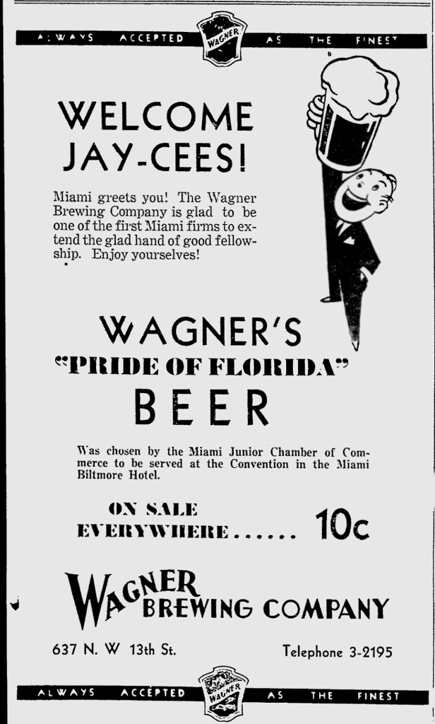 Wagner Brewing Ad in Miami News in 1934