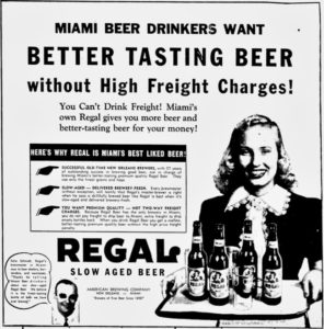 Regal Beer Ad in Miami News in 1947