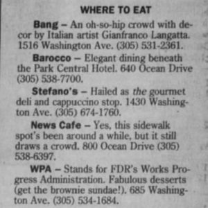 Where to Eat in Palm Beach Post in 1993