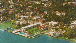 Postcard of Brickell Bay Drive in 1950s