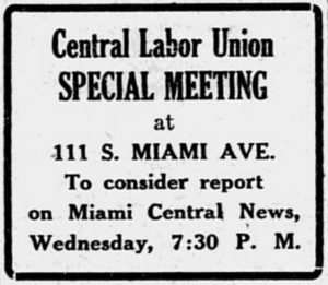 Ad for meeting of socialists on June 20, 1921.