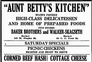Ad for Aunt Betty's Kitchen in 1922.