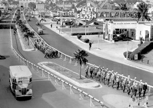 Navy Seaman marching on Biscayne Blvd in 1942