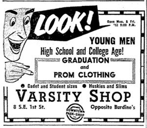 Ad for Varsity Shop in 1958.