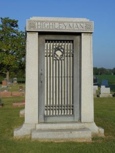 Headstone of L.T. Highleyman in Sedalia, Missouri