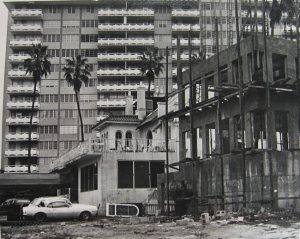 Vacant Commodore Club in 1981. Babylon Apartments being built in foreground.