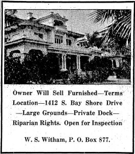 Ad in Miami Herald in 1925. Witham selling Chateau Reve.