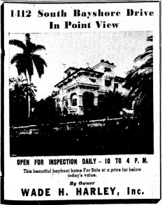 Ad in Miami Herald in 1941 to sell Point View home.