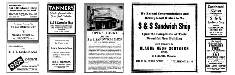 S&S Sandwich Shop Ads in 1938