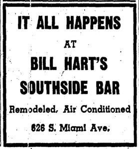 Ad for Southside Bar in 1939.