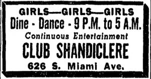 Club Shandiclere Ad in 1949.