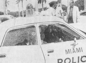 Gunman shoots at Police Squad Car in 1973.