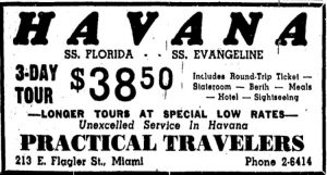 Ad for Practical Travelers in Miami Herald in 1938.