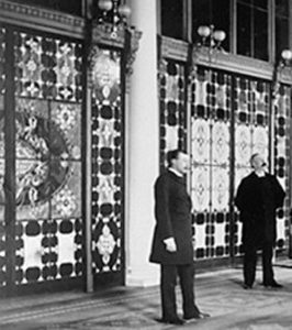 Louis in front of work at White House in 1882.