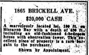 Ad in Miami Herald on March 17, 1935.