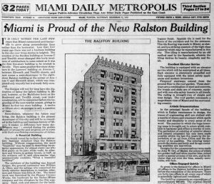 Headline in Miami Metropolis in 1917