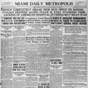 Front page of Miami Metropolis on June 19, 1918.