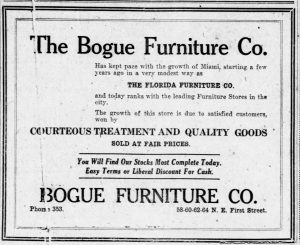 Bogue Furniture Ad in 1921