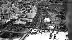 Aerial of Library in Bayfront Park in 1951