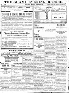 Front page of the Miami Evening Record on January 2, 1904