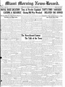 Front page of Miami Morning News-Record on December 10, 1907