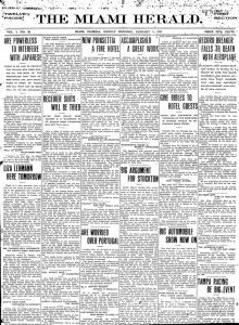 Front page of Miami Herald on January 1, 1911.
