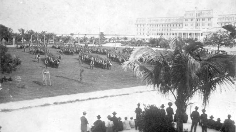 Soldiers marching on Royal Palm Park in 1898.