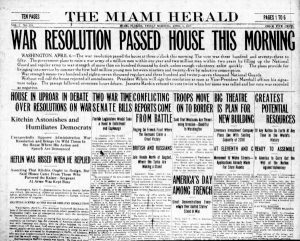 Miami Herald headline of declaration of war on April 6, 1917.