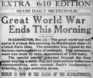 Miami Daily Metropolis Headline on November 11, 1918.