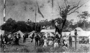 Soldier encampment in downtown Miami in 1898