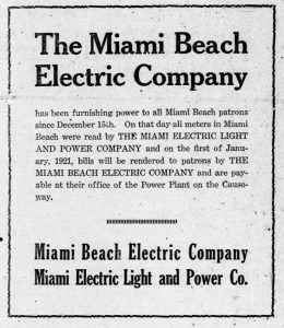 Ad for Miami Beach Electric Company in December of 1920.