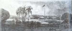 Fort Dallas along Miami River in 1858.